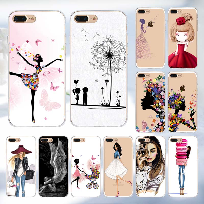 <font><b>Girl</b></font> Phone Case <font><b>for</b></font> <font><b>iPhone</b></font> X <font><b>6</b></font> 6s 7 8 Plus Case <font><b>for</b></font> <font><b>iPhone</b></font> 5s 5 SE Women Relief Flower Silicone TPU Soft <font><b>Cover</b></font> X Full Coque image
