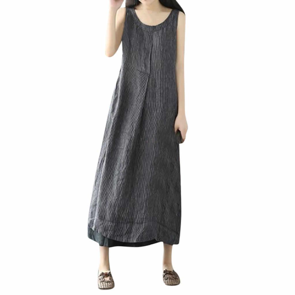 6e442f576dd2 Summer women dress Oversize Pockets Cotton And Linen Loose Stripe Baggy  dresses party night dress women