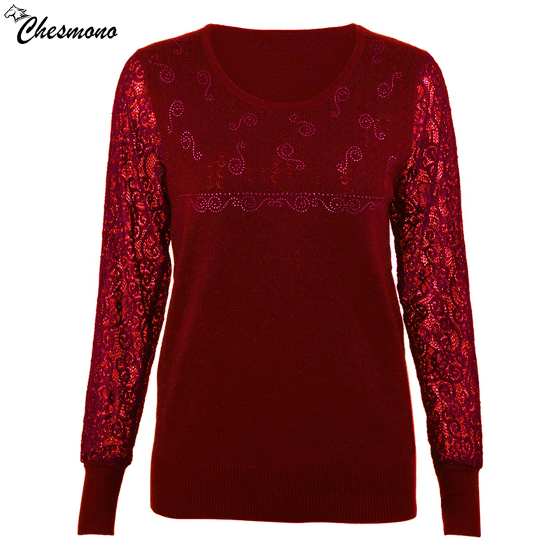 chesmono Spring Autumn Fashion Women 2018 Long Sleeve Lace Patchwork Casual Pullover soft Ladies Sweaters Plus Size S-XXL