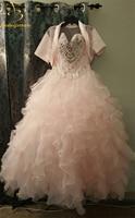 Bealegantom אור חדש ורוד כדור שמלת Quinceanera שמלות 2017 Vestidos דה 15 Anos חרוזים מתוקים 16 שמלה 15 שנים QA1188