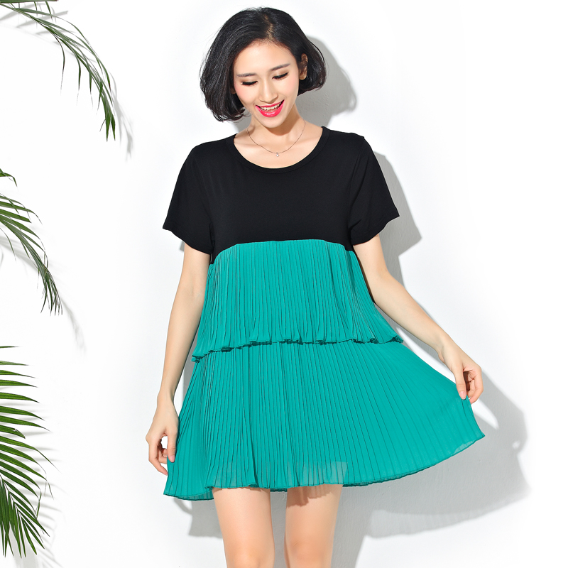 No Boundaries Juniors Oversized Stitching Tiered Chiffon Dress Plus