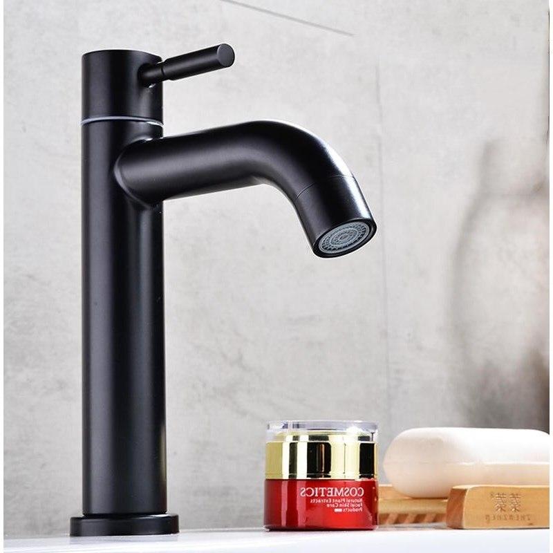 Черный 304 материал из нержавеющей стали одиночный холодный кран для раковины для ванной комнаты кран для раковины с ручкой