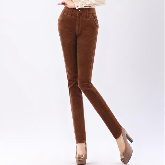 #1956 High waist Stretch Pantalon femme Corduroy women pants Fashion Plus size 27-40 Casual Boot pants Skinny Autumn/winter