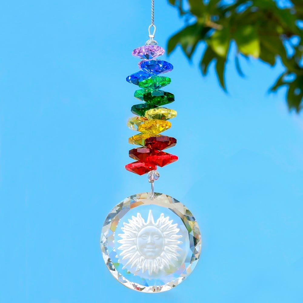 H&D Handmade Crystal Glass Sun Charm Chakra Suncatcher Crystal Rainbow Maker Gift Boxed (Octagon Style)
