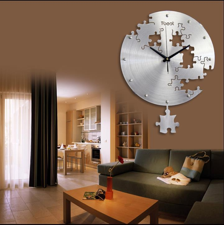 16 Inch Circilar Creative Puzzles Wall Clock Art Modern Design Living Room And Bedroom Mute Watch Home Decor In Clocks From