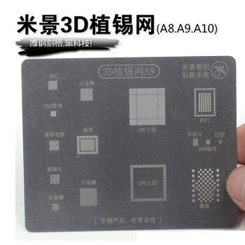 Wozniak 3d Bga Reballing Estêncil Dedicar Kit Para Iphone A8 6g 6 P A9 6 S 6sp A10 A11 A12 7 7 P 8 P X Xs Rede De Aço Reparação De Malha Máxima