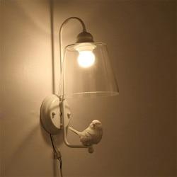 Nowoczesne białe oświetlenie Led kinkiet z przezroczystego szkła klosz kinkiet sypialnia schody Loft ściana światło żywicy ptaka oświetlenie domu Deco E27 110 240 V|wall light|led wall lamploft wall -