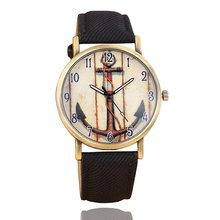 New Fashion Casual Women Watches Anchor Pattern Wristwatch Danim Fabric Watch Leather Strap Bronze Quartz Watch Clocks 170616(China)