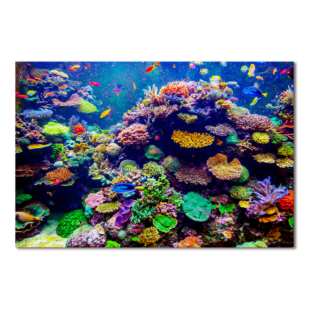 1 Panel Unframed Underwater Sea Fish Coral Reefs Canvas ...