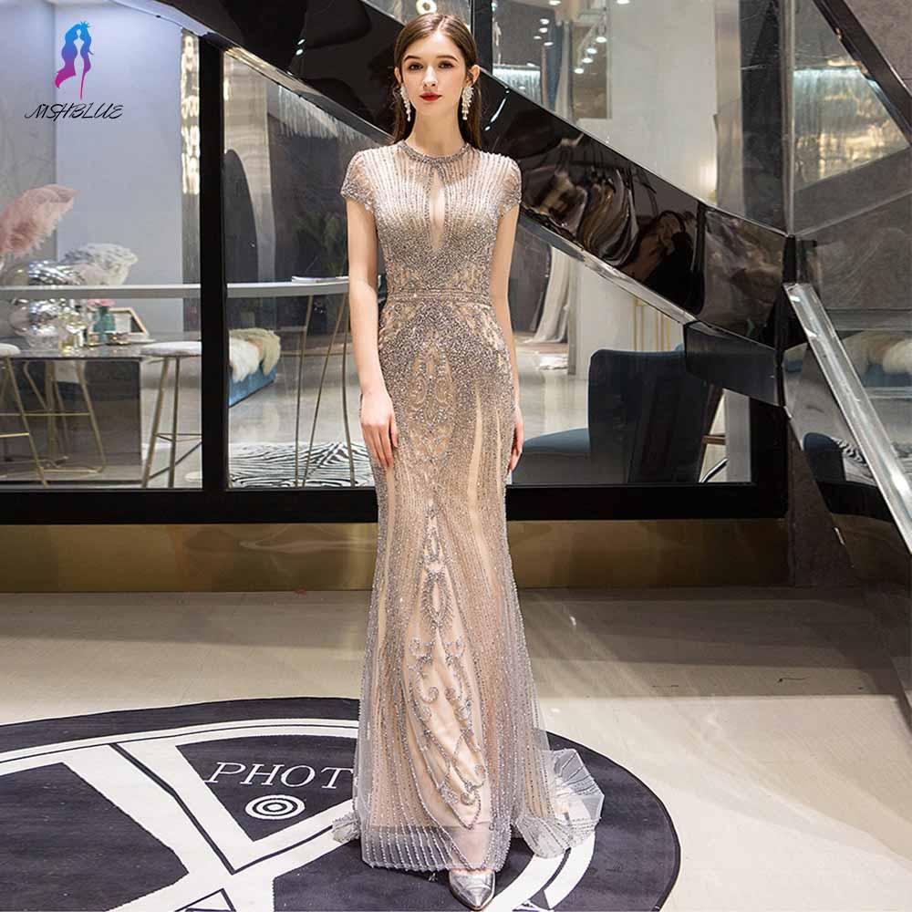 Luxury Silver Crystals Long   Evening     Dresses   Cap Sleeve Mermaid Formal   Dress     Evening   Gown Robe De Soiree