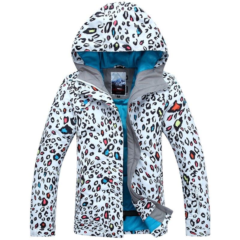 Veste de ski femme imprimé léopard veste de surf des neiges femme hauts femmes super forte thermique imperméable 10 K