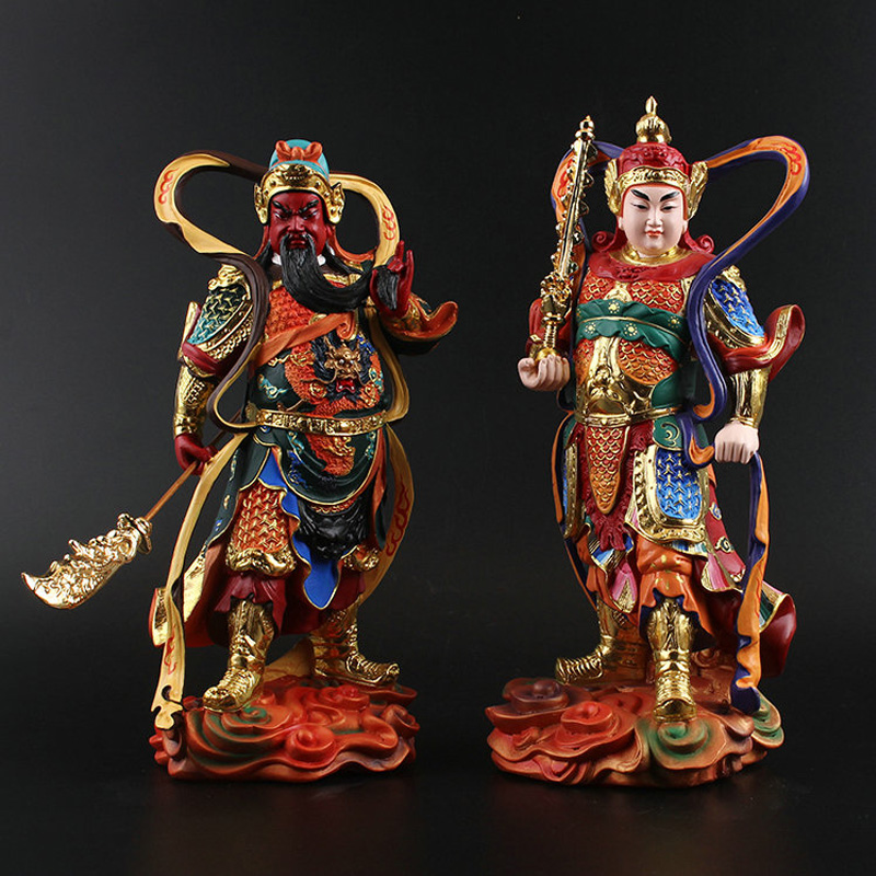 1 pcs Sangharama Bodhisattva Resin painting Guan Gong Buddha statues Dharma wealth Peace Sculpture Resin Craft