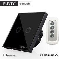 EU UK Standard Light Switch 2 Gang 1 Way Glass Panel Wall Touch Switch RF433 Smart