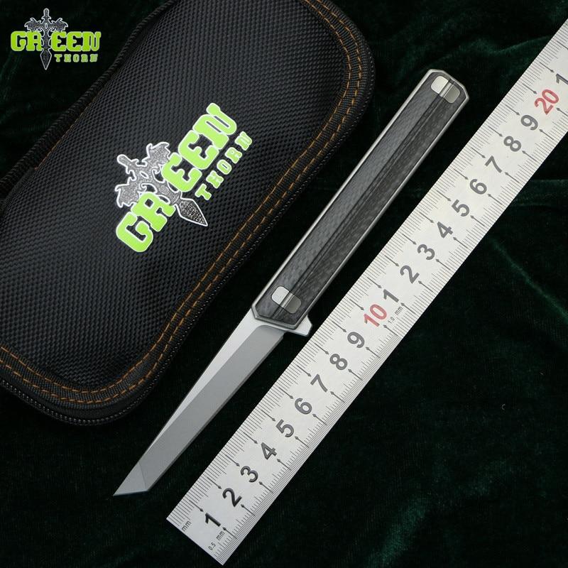 Green thorn small QM Tactics Flipper folding knife Titanium+CF handle D2 blade camping outdoor survival pocket knives EDC tools
