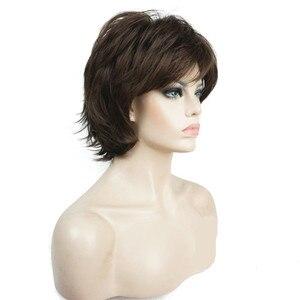 Image 3 - Strongbeauty 女性のかつら黒/ワイン赤 bfluffy ショートストレートレイヤ髪合成フルウィッグ