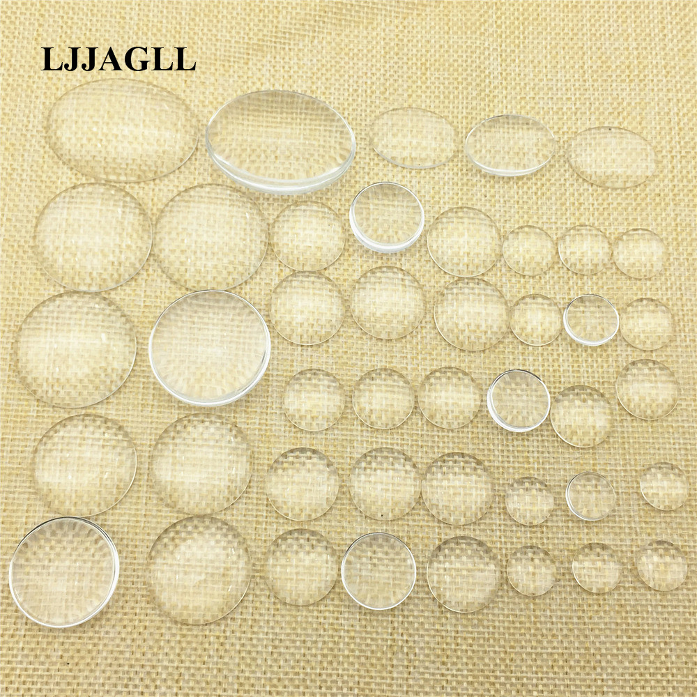 LJJAGLL Mixed Sizes Clear Glass Dome Cabochon 12/14/16/18/20/25/30mm Round Oval Cameo Setting Jewelry Making semicircle ABS011 ...