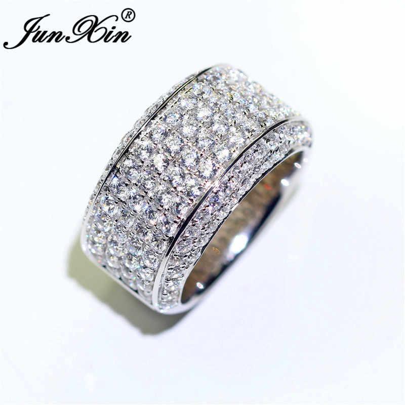 JUNXIN Luxus Männlichen Kristall Große Ringe Für Männer Frauen Kleine Zirkon Stein Engagement Paar Ring 925 Silber Farbe Weiß Hochzeit band