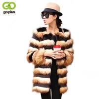 GOPLUS New 2018 Women Winter Faux Fur Coat Europe and America Fashion Striped Fur Jacket Warm Mixed Colors Furry Fur Coats C4367
