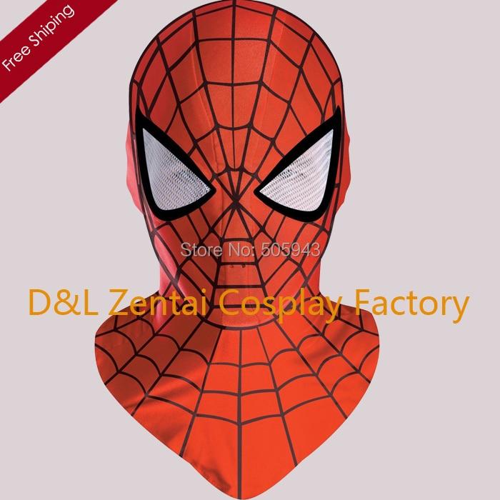 Free Shipping DHL Drop Shipping Halloween Lycra Spandex Zentai Superhero Red Spiderman Mask White Eyes MK-11