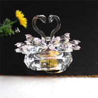 Crystal Swan Crafts Glass Paperweight Figurine Gift Crafts Ornaments Figurines Home Wedding Party Decor Gifts Souvenir With Musi