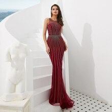 Dark Red Muslim Evening Dresses with Rhinestones New Luxury Sexy Sleeveless Mermaid Diamond Beading Gown