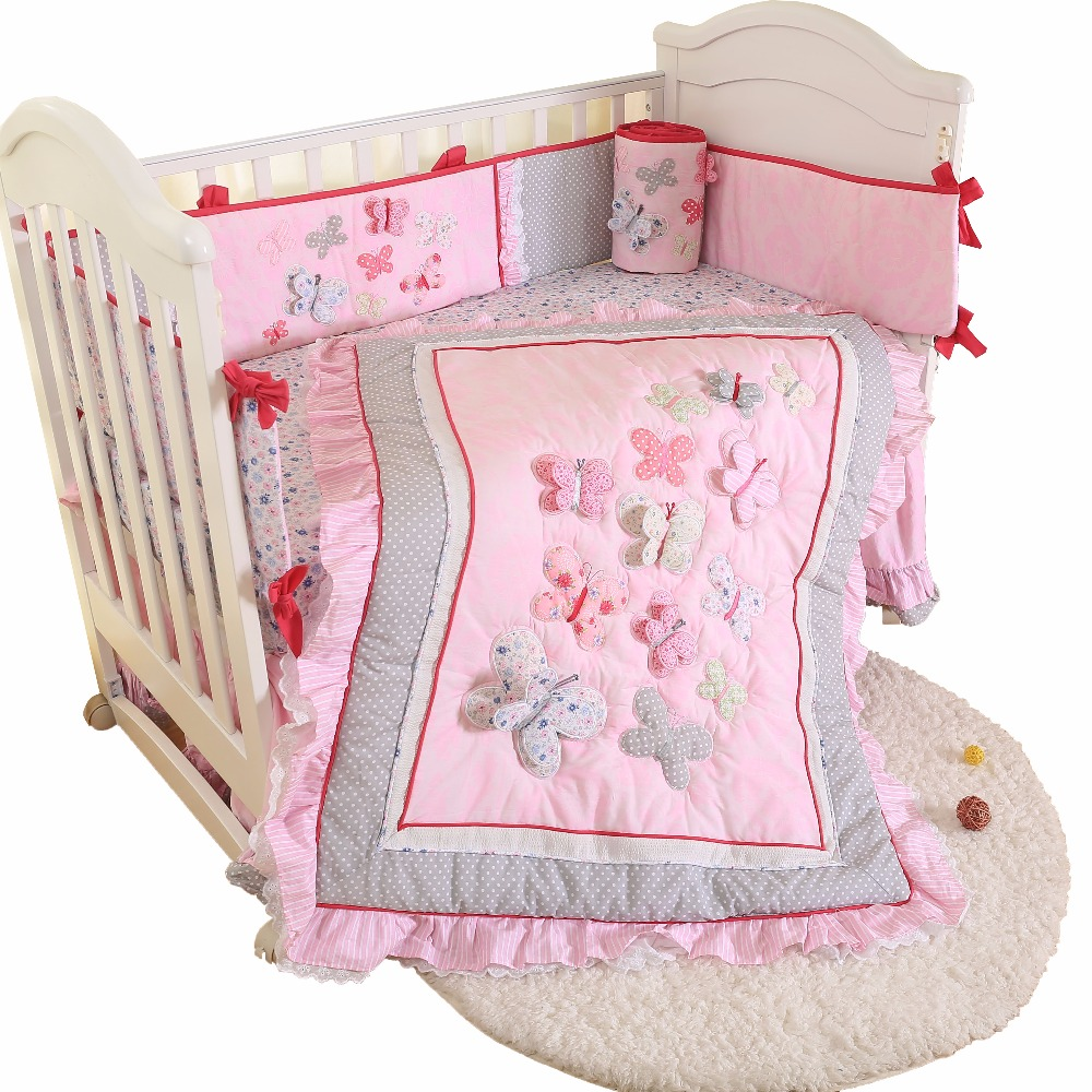 4 PCS Baby bedding set lovely crib bedding set cotton baby bedclothes include comforter skirt sheet