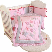 4 PCS Baby bedding set lovely crib bedding