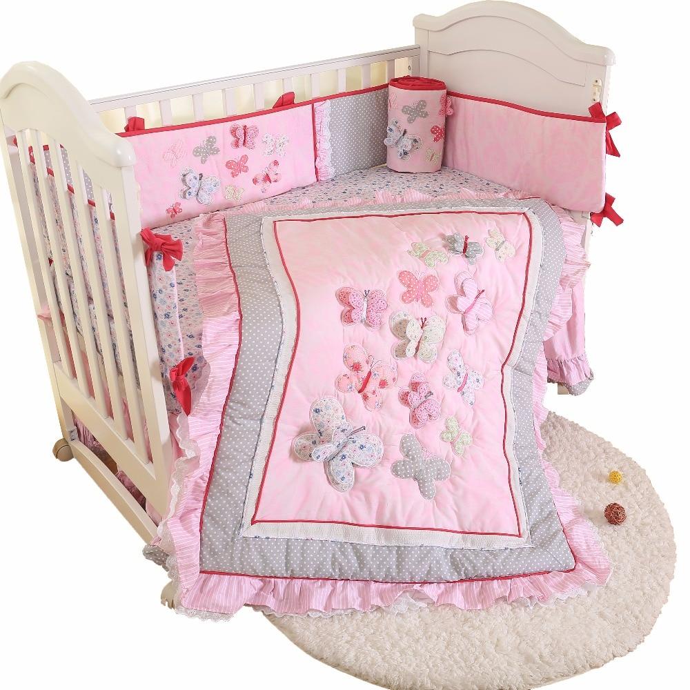 Комплект постельного белья для детей из 4 предметов, милый комплект постельного белья для кроватки, хлопковое детское постельное белье, включает одеяло, юбку, листовые бамперы