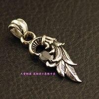 925 Sterling Silver Black Angel Wings Silver Pendant