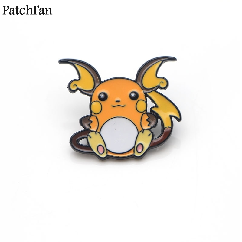 Apparel Sewing & Fabric Spirited 20pcs/lot Patchfan Pocket Monster Raichu Cartoon Zinc Tie Pins Backpack Clothes Brooches For Men Women Hat Badges Medals A1651