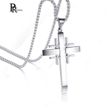 Men s Jerusalem Cross Necklace Silver Color Stainless Steel Crusader  Pendants Free Chain 24