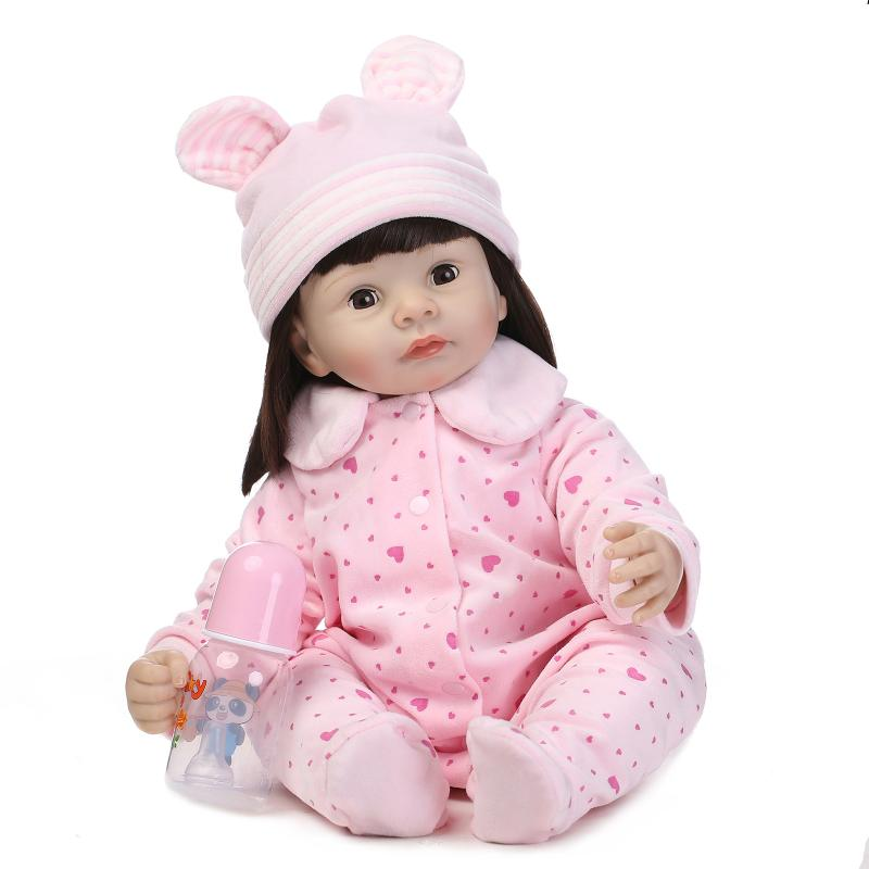 New silicone reborn baby dolls accompany educational play house lifelike doll kid high-end christmas new year gifts collection high end 55cm silicone reborn doll toddler vinyl simulated dolls brinquedos christmas new year boutique gifts play house doll