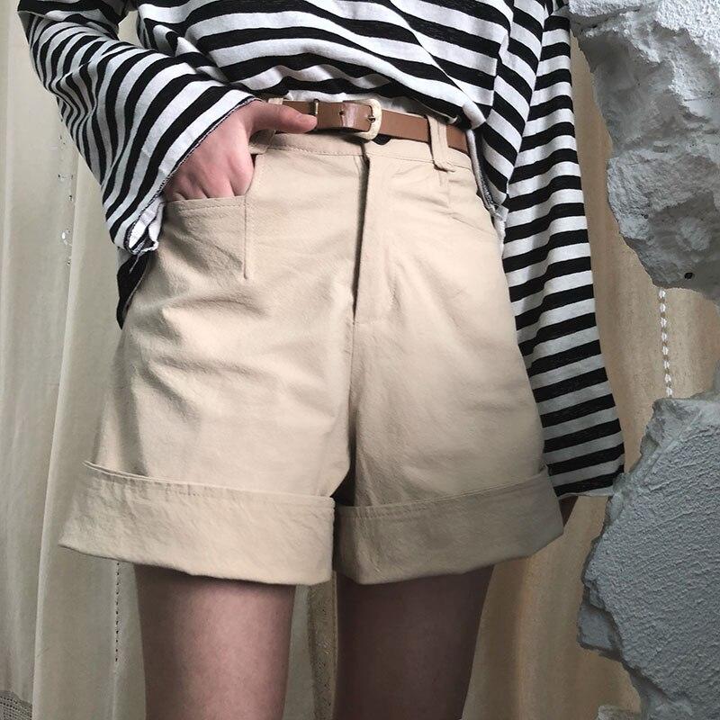 Casual Retro High Waist Wide Leg Shorts Women's Buttom Korean Punk Harajuku Ulzzang Female Cute Vintage Kawaii Shorts For Women