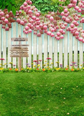 Indah kayu taman bunga Anak Pernikahan Vinil Latar Belakang untuk