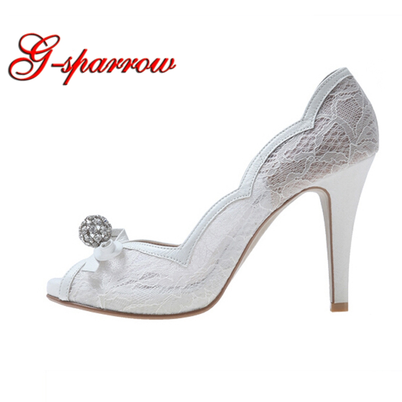 White Lace Peep Toe Wedding Shoes Rhinestone Luxurious Lady High Heels Wedding Party Prom Pumps Bridal Bridesmaid Shoes 2018 handmade pink lace wedding shoes women pumps bridal dress prom shoes party shoes beautiful applique bridesmaid shoes