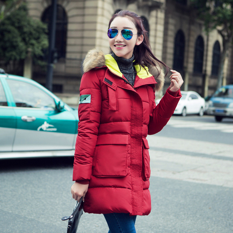 New Winter Jacket Women Fashion Down Padded Jackets Female Long Parka Large Fur Collar Hooded Women Cotton Coat Plus Size C1241 new fashion print 2017 winter women down cotton medium long jacket parka female hooded fur collar size m 3xl outerwear coatcq560
