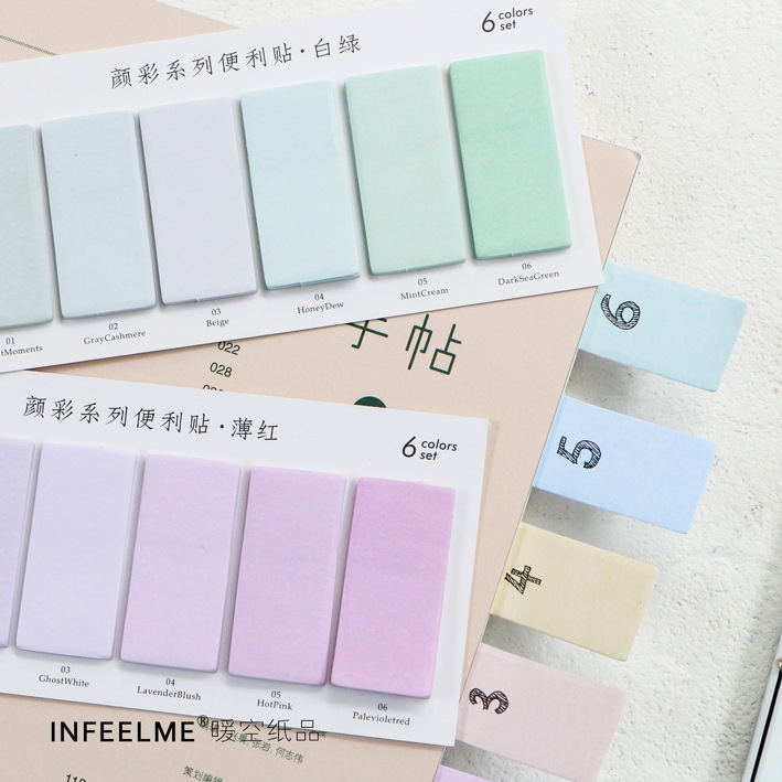6 Colors Set Cute Novelty Sticky Notes Memo Pad Index Sticker Bookmark Page Flag Sticker School Office Stationery Supplies