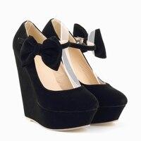 Mulheres da moda de Veludo Sapatos de Salto Alto Plataforma Preto Bombas Meninas Doce Arco-nó com Tira No Tornozelo Bombas Senhoras Vermelhas do Partido sapatos 391-3VE