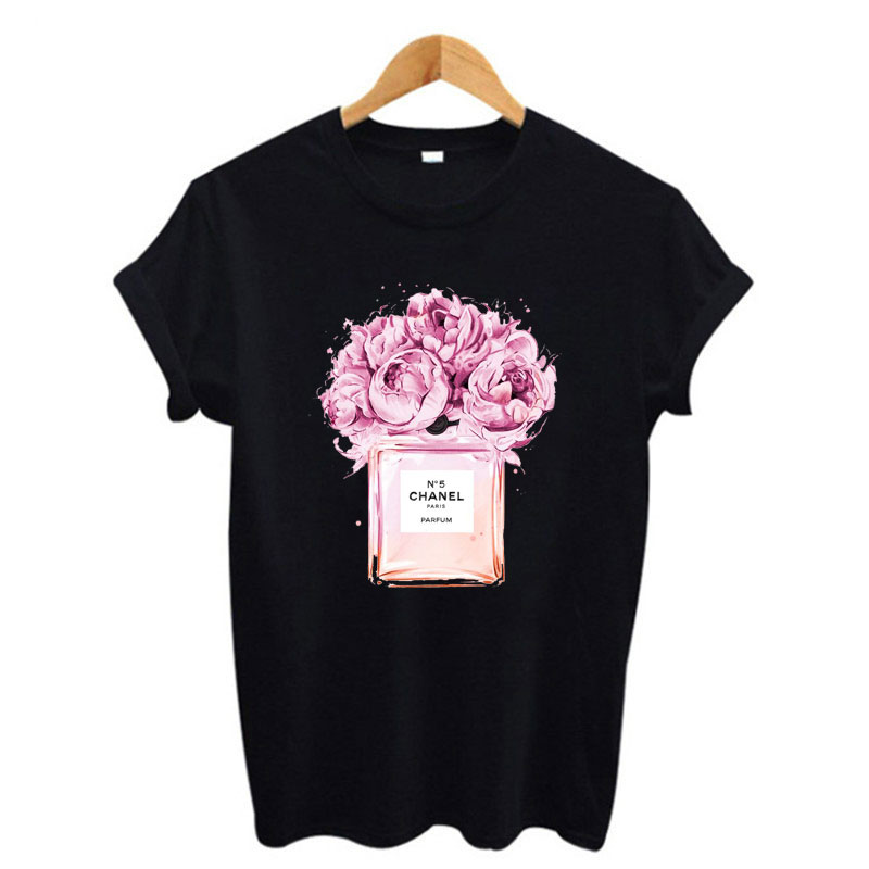 Women Ladies Pullover Side Flower Roses Embroidery Basic Jersey T Shirt Tees Top