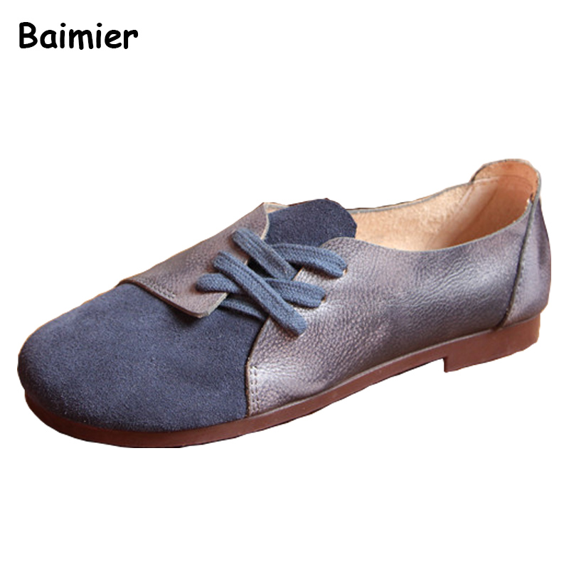 New Spring Style Genuine Leather Shoes Woman Vintage Flat Shoes Round Toe Handmade Oxfords Women Soft Comforable Casual Shoes genuine leather handmade women shoes vintage spring and autumn women shoes flat shoes low top casual shoes free shipping