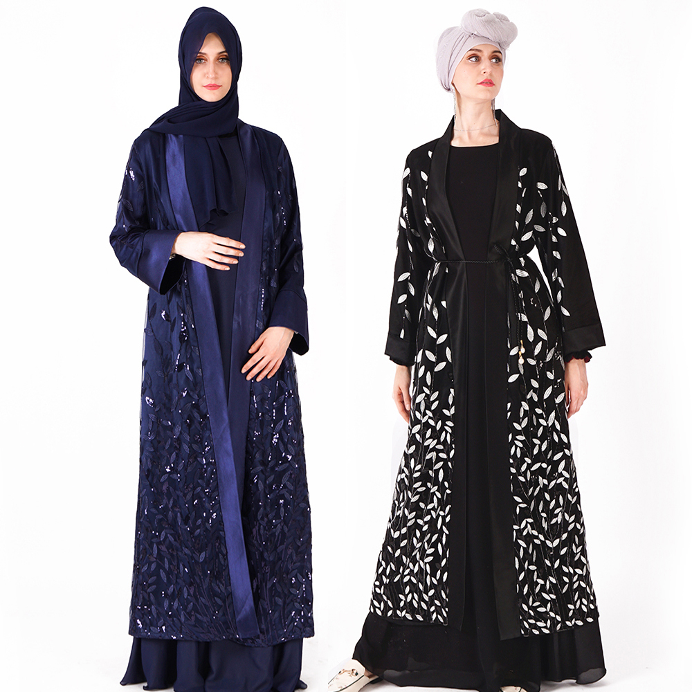 Muslim Islamic women double layers front open abaya robes