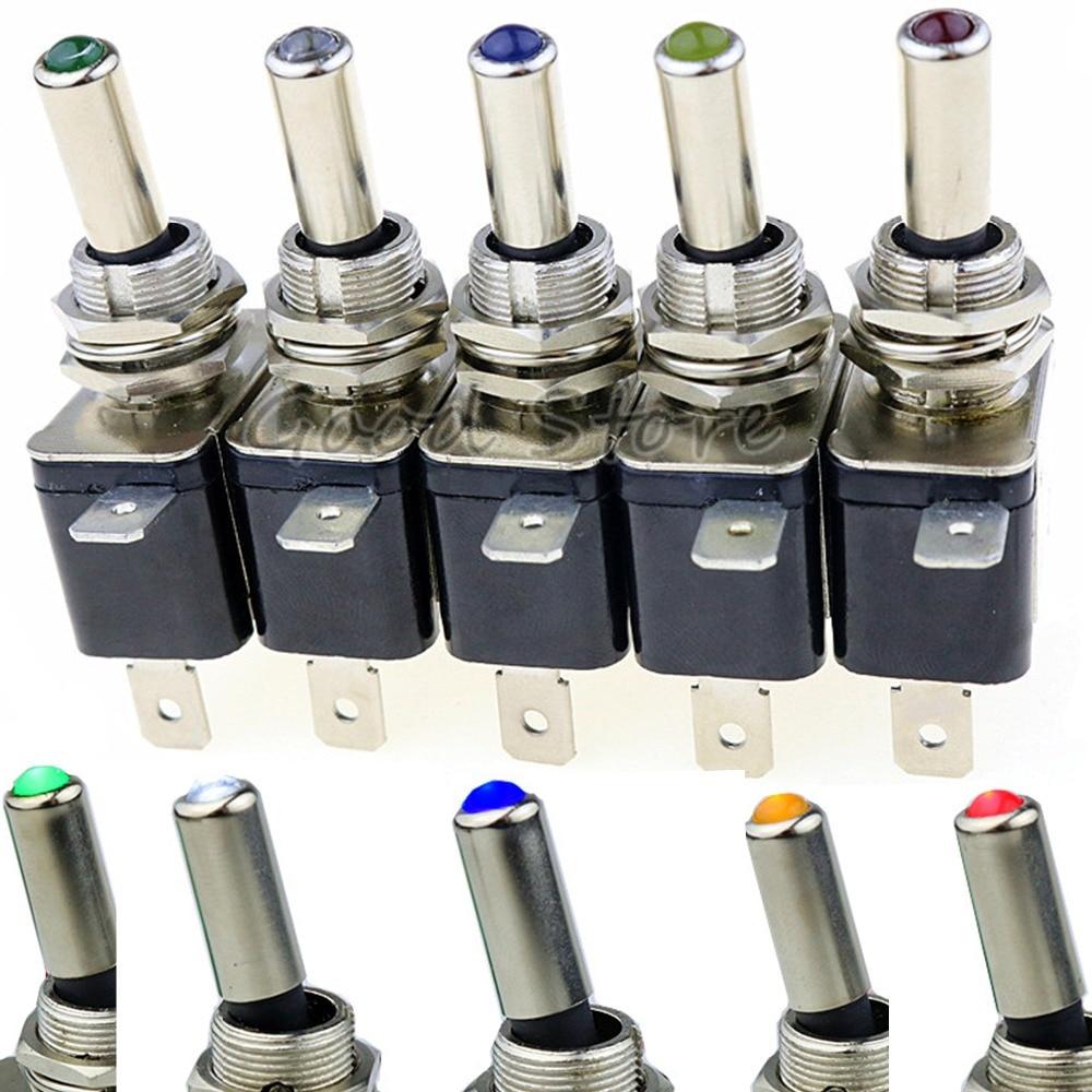 Interrupteur à bascule pour camion/bateau, 12V, 20A, 1 pièce, rouge, bleu, vert, jaune, blanc, Led illuminée