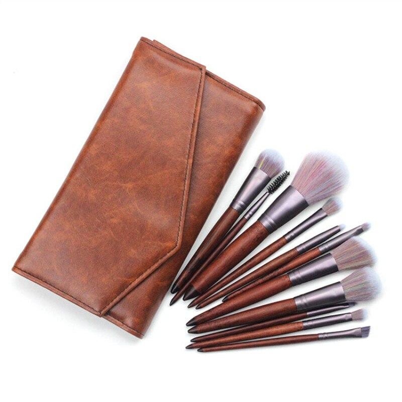 novo estilo de cor marrom po brushes kits nylon cabelo punho de madeira coloful 11 pcs