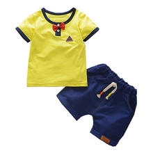 2019 New Summer Baby Boys Clothing Sets Infant Cotton Clothes Sets Casual Bow T Shirt Cowboy Shorts Children Kids Holiday Suits недорого
