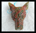 Carved Natural Stone Wolf Head Multi-Color Picasso Necklace Pendant Bead,47*35*13mm 18.2g wolf carving stone animal pendant