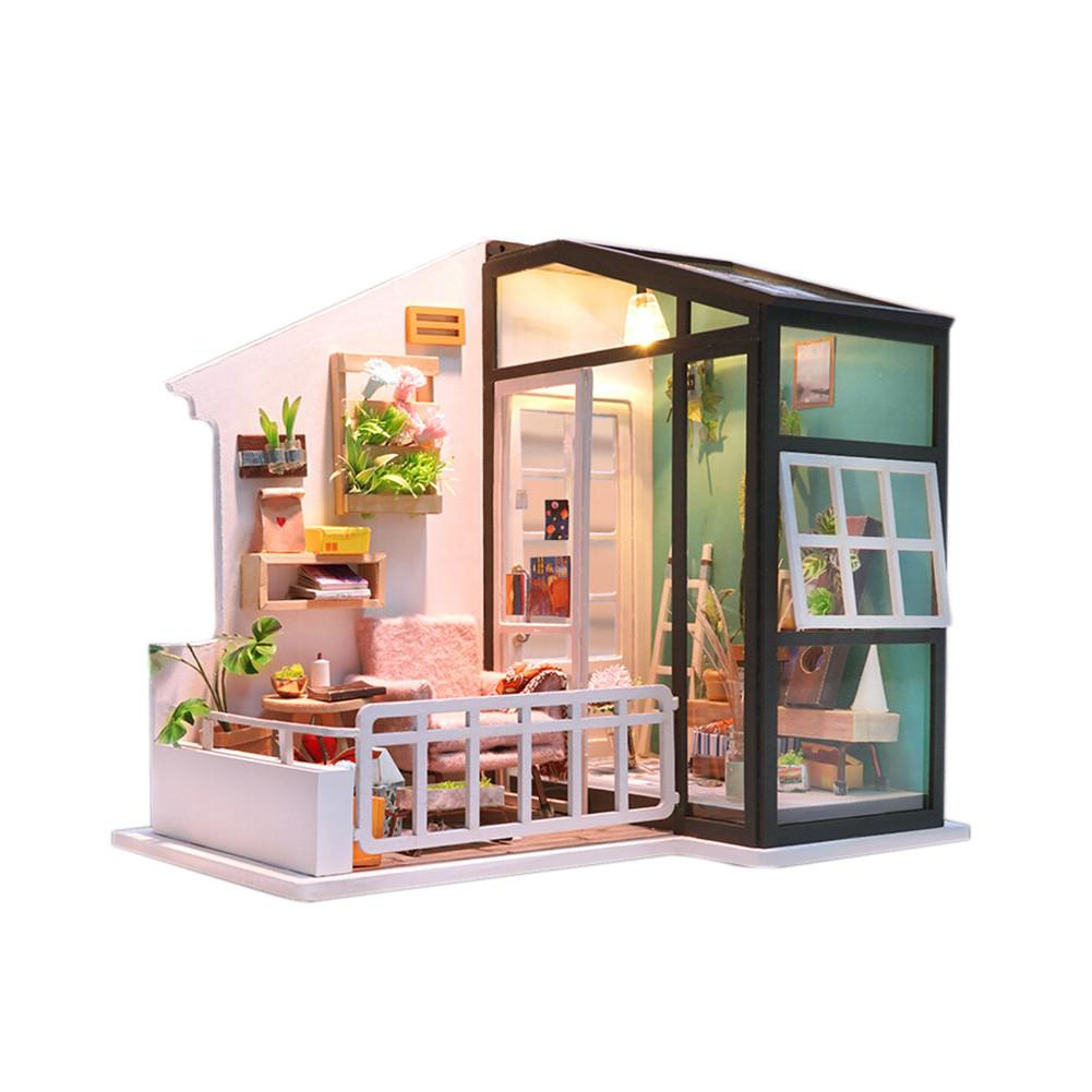 DIY Small House South Breeze DIY Miniature Wooden Dollhouse LED Furniture Kit 3D Puzzle Toy Kid Birthday Gift without Dust Cover