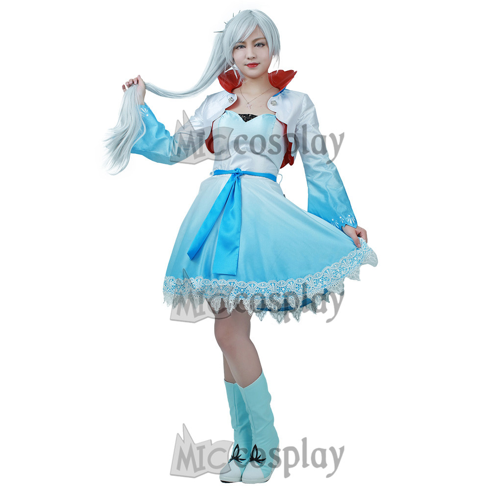 Weiss Schnee Cosplay Costume Blue Shade Dress