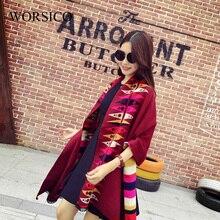 Worsico новый бренд шарф кашемира дизайнер Для женщин сгущать теплый плащ длинный платок бренд шали и Шарфы теплые мягкие пашмины