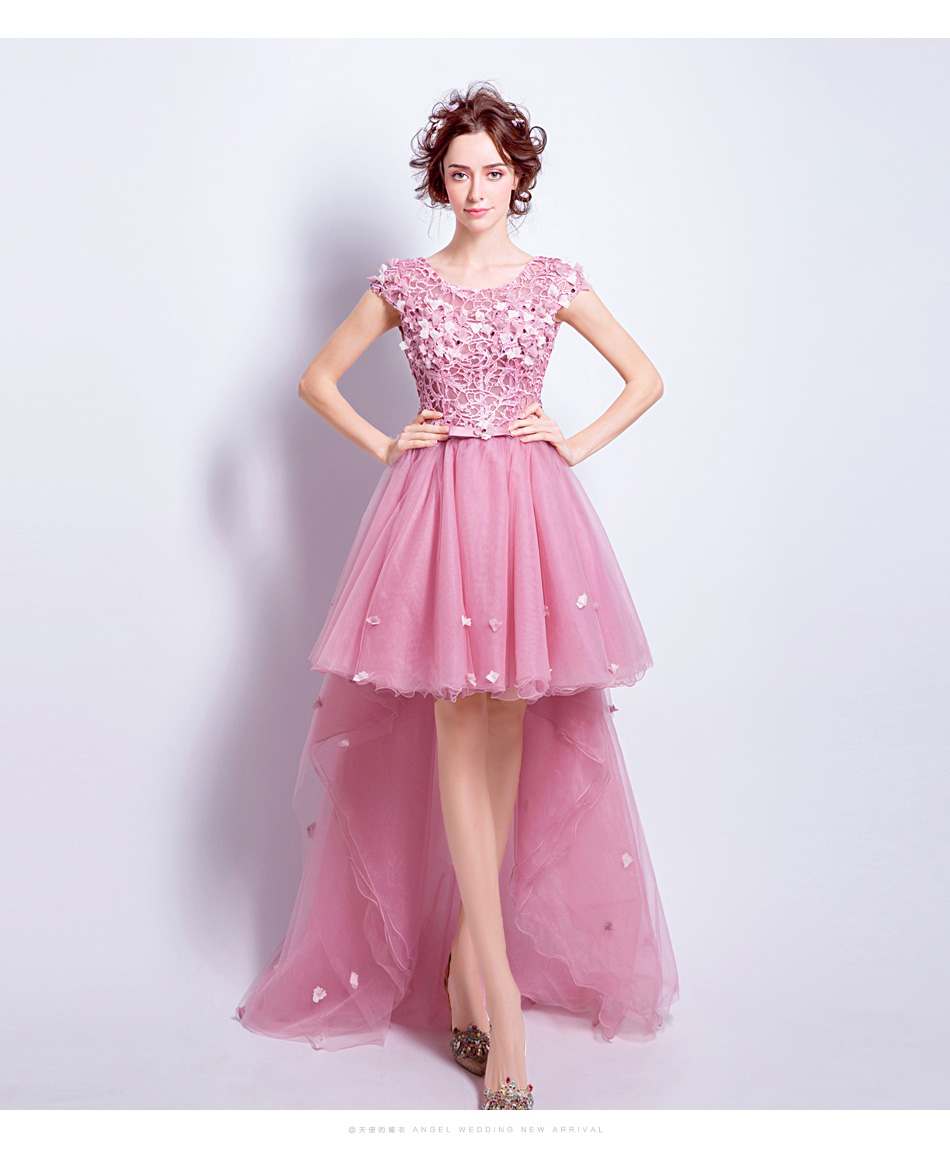 Clearance SSYFashion Sweet Rose Pink Lace Flower Cocktail Dress ...