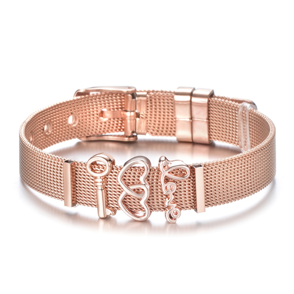 Hot Sale Gold Color Stainless Steel Mesh Bracelet Set Gold Love Lock Charms Pan Bracelet Bangle for Woman Jewelry Gifts in Charm Bracelets from Jewelry Accessories